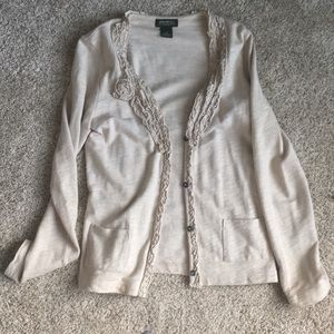 Ruffled Cardigan Sweatshirt